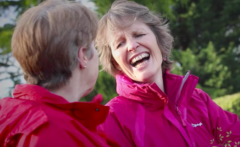 Two older Fitmums members laughing