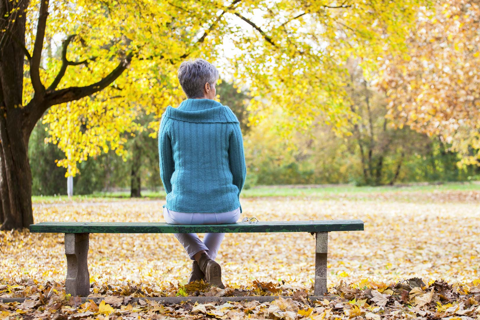 Person on bench in front of autumn trees