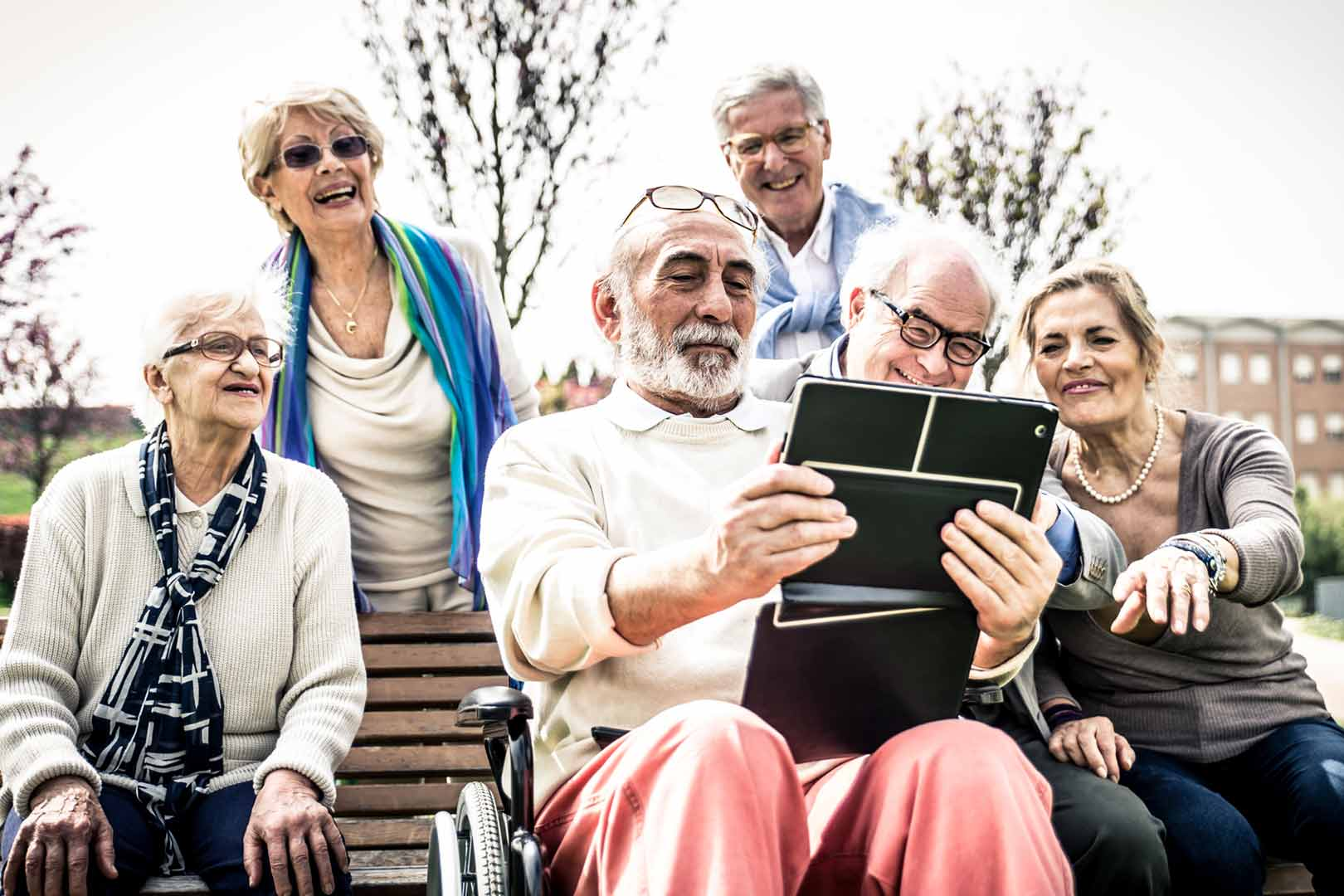 Older people with tablet device