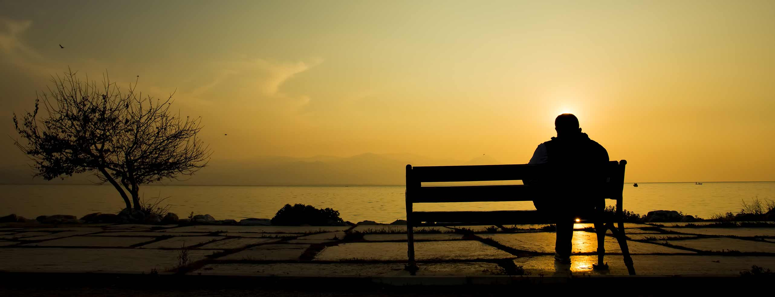 Lonely person on bench (coast)